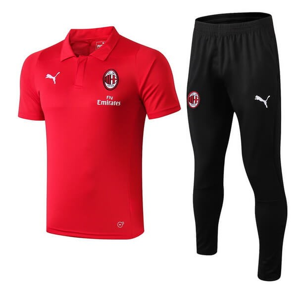 Polo Foot Ensemble Complet AC Milan 2018-2019 Rouge