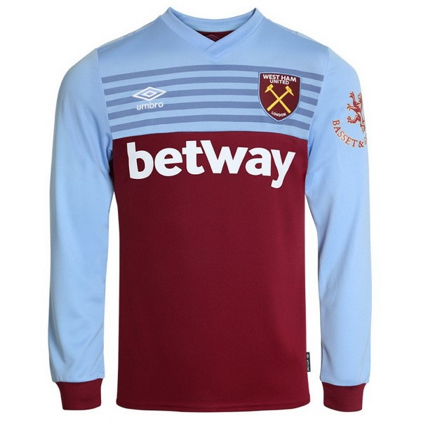 Maillot Foot West Ham United 1ª ML 2019-2020 Azul Rouge