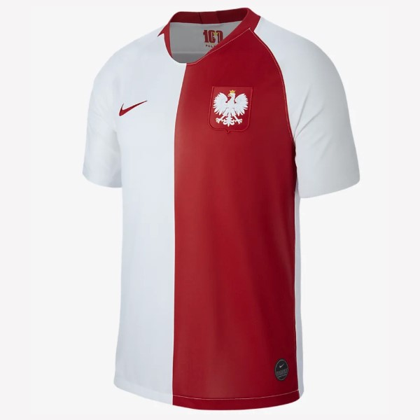 Maillot Foot Polo Foot Footballgne 100th Blanc Rouge