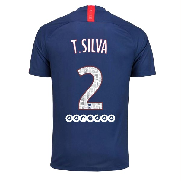 Maillot Foot Paris Saint Germain NO.2 T.Silva 1ª 2019-2020 Bleu