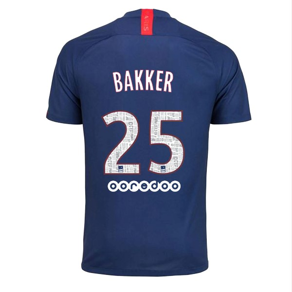 Maillot Foot Paris Saint Germain NO.25 Bakker 1ª 2019-2020 Bleu