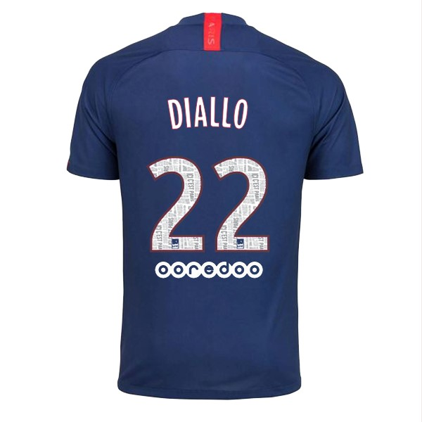 Maillot Foot Paris Saint Germain NO.22 Diallo 1ª 2019-2020 Bleu