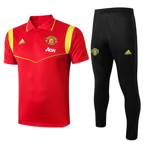 Polo Foot Manchester United Ensemble Complet 2019-2020 Rouge Or Noir