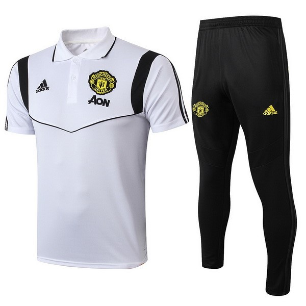 Polo Foot Manchester United Ensemble Complet 2019-2020 Blanc Noir