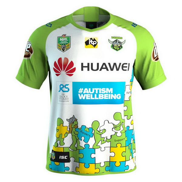 Maillot Rugby Canberra Raiders 2018 Blanc Vert